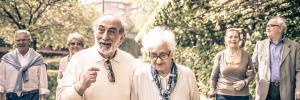 Elderly friends enjoying life