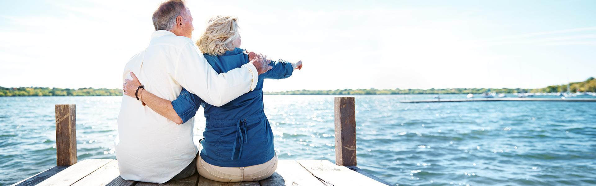 Elderly couple on a pier