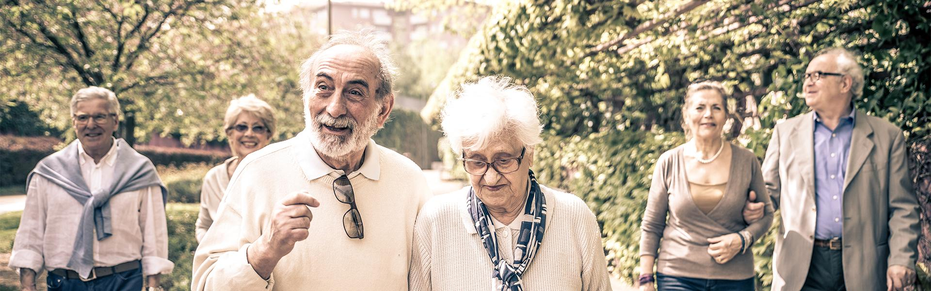 Content pensioners enjoying a stroll