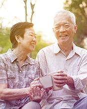 Content elderly couple enjoying life